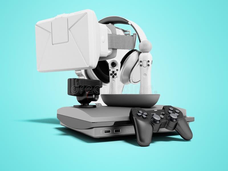 Gruppe Spielkonsolen für Unterhaltung 3d auf blauem Hintergrund mit Schatten übertragen vektor abbildung