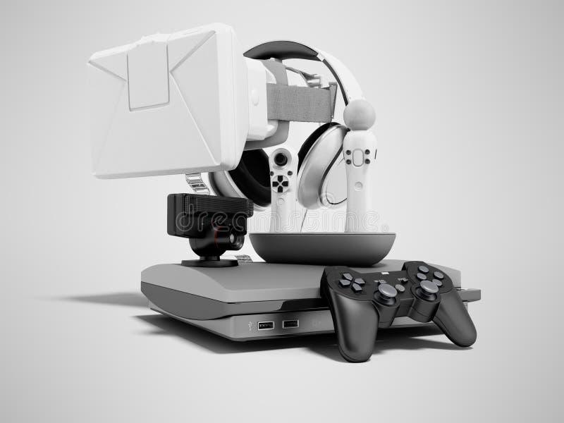 Gruppe Spielkonsolen für Unterhaltung 3d auf grauem Hintergrund mit Schatten übertragen stock abbildung
