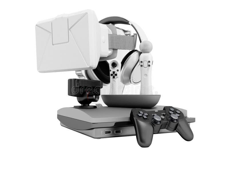 Gruppe Spielkonsolen für Unterhaltung 3d auf weißem Hintergrund keinen Schatten übertragen vektor abbildung