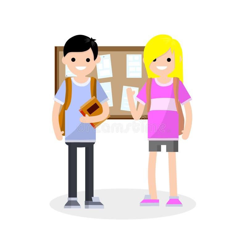 Gruppe Studenten im College-einjungen und in einem Mädchen mit Rucksäcken vektor abbildung
