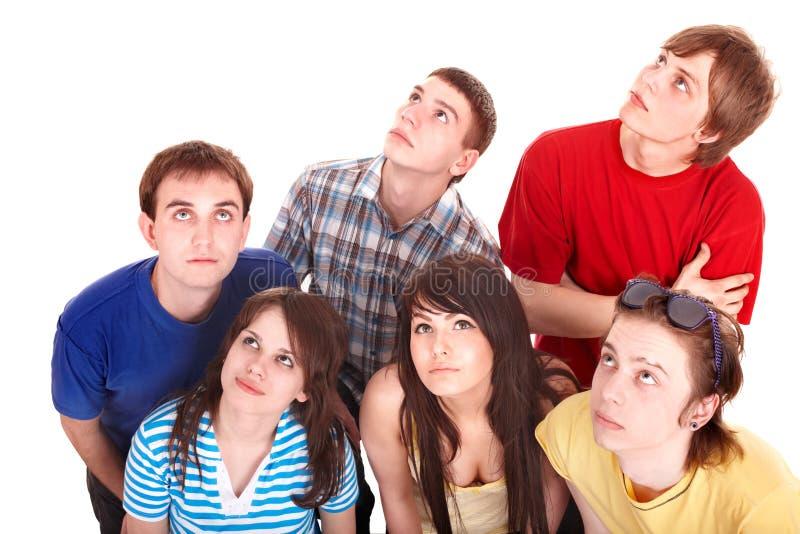Gruppe traurige Leute, die oben schauen. lizenzfreie stockfotos