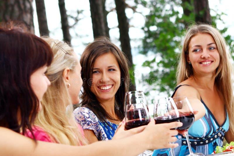 Gruppe trinkender Wein der jungen Frauen stockfoto
