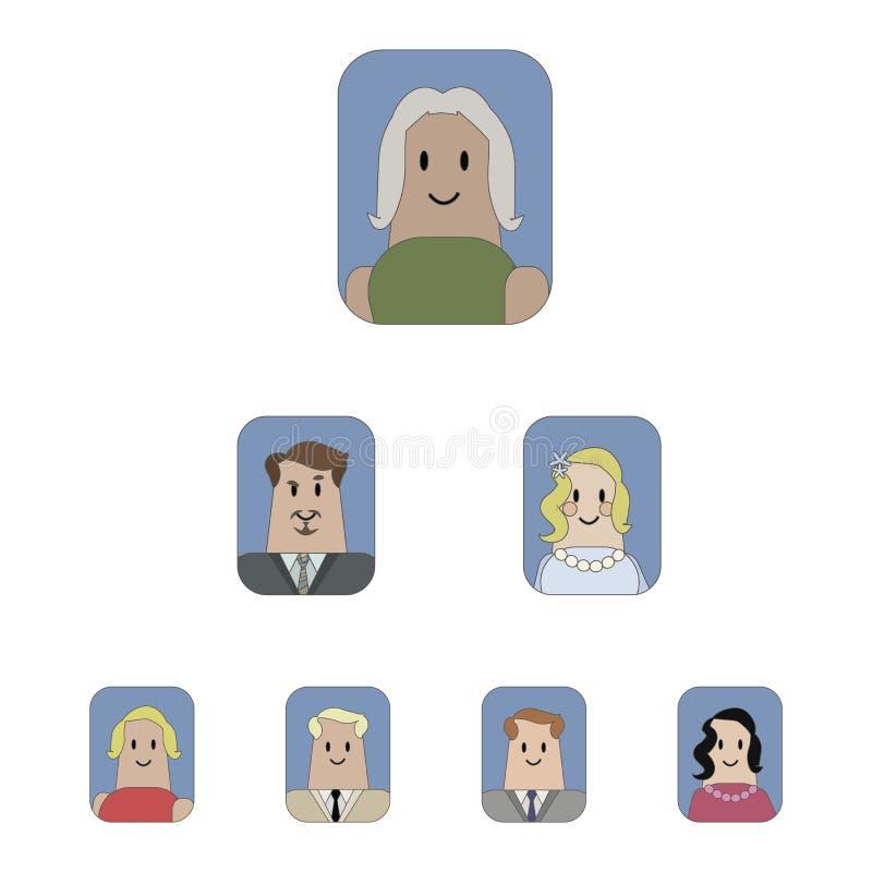 Gruppe Vektorikonen mit Zeichnungen von den Leuten team Hierarchie lokalisiert auf weißem Hintergrund stock abbildung