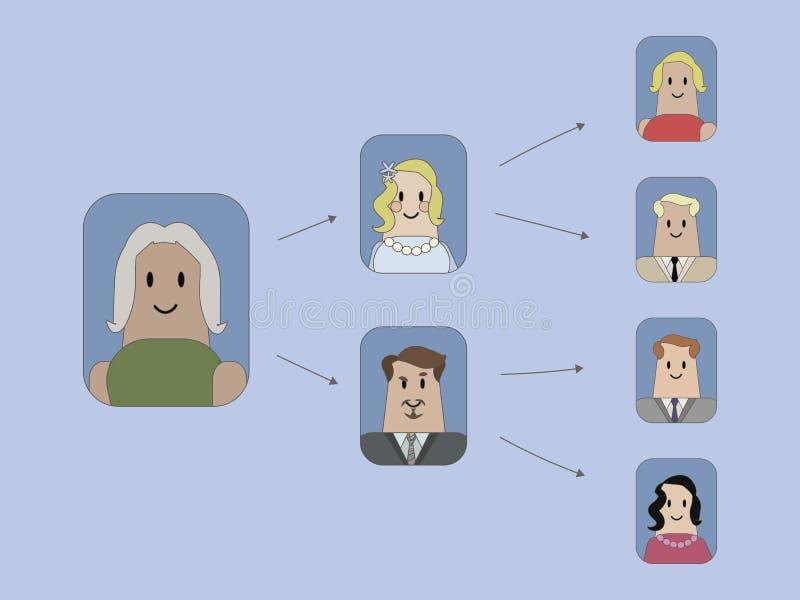 Gruppe Vektorikonen mit Zeichnungen von Leuten und Pfeile team Hierarchie auf einem blauen Hintergrund stock abbildung