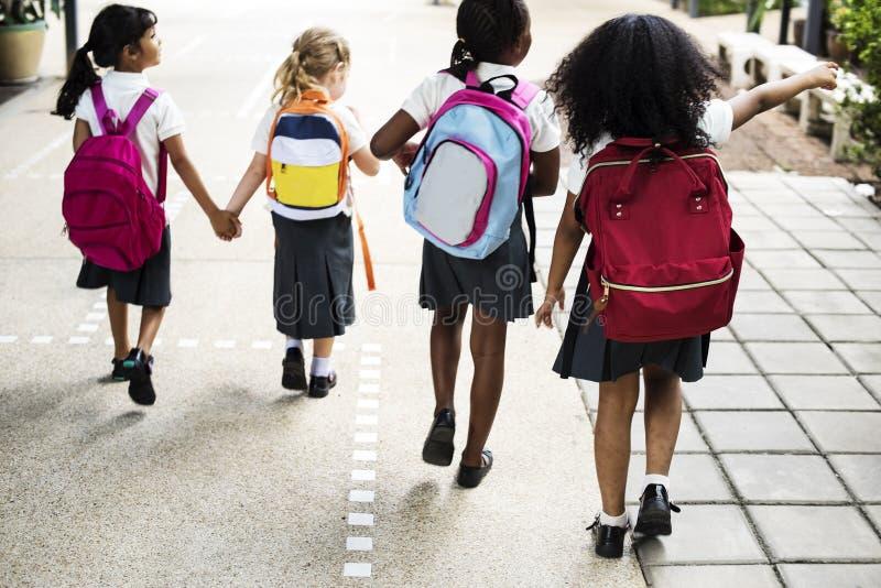 Gruppe verschiedene Kindergartenstudenten, die zusammen gehen lizenzfreie stockfotos