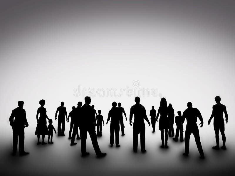 Gruppe verschiedene Leuteschattenbilder gesellschaft lizenzfreie stockfotografie