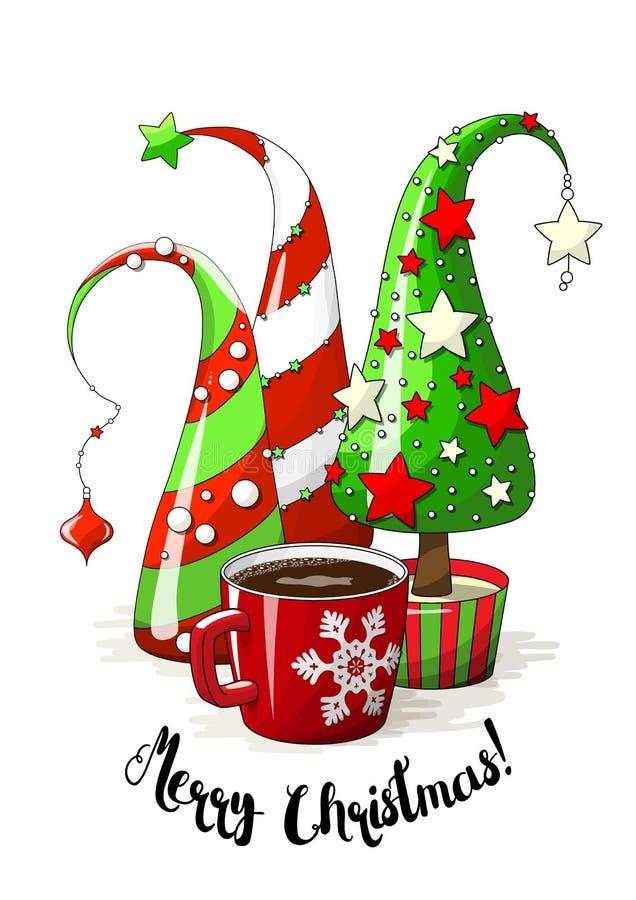 Gruppe von abstrakten Weihnachtsbäumen und von Kaffeetasse, Feiertagsmotiv, Illustration lizenzfreie abbildung