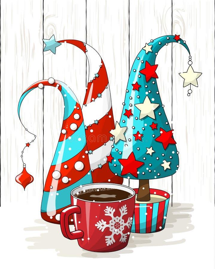 Gruppe von abstrakten Weihnachtsbäumen und von roter Kaffeetasse, Feiertagsmotiv, Illustration vektor abbildung