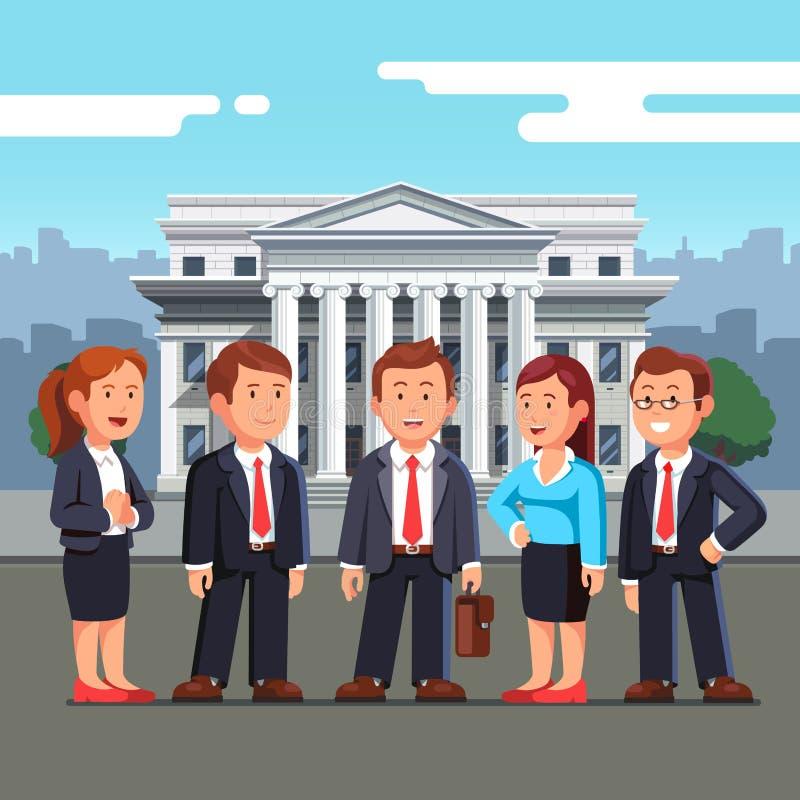 Gruppe von fünf Geschäftsleuten, die in den Klagen stehen vektor abbildung