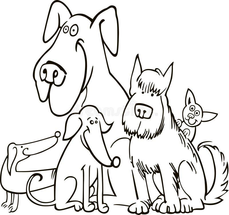 Gruppe von fünf Hunden für Farbton vektor abbildung