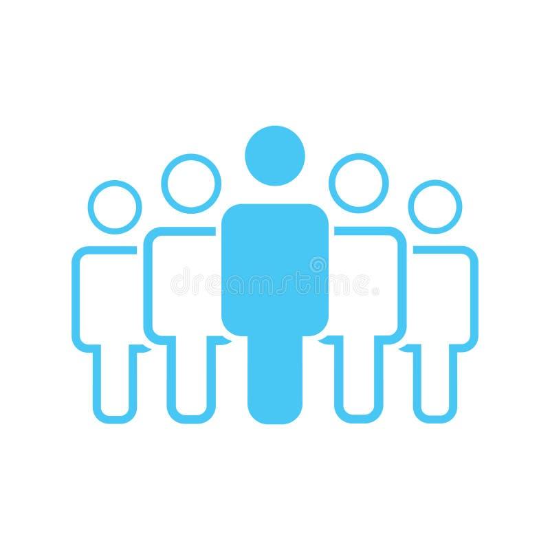 Gruppe von fünf Leuten oder von Benutzergruppe, die flache Vektorikone für Apps und Website stehen stock abbildung