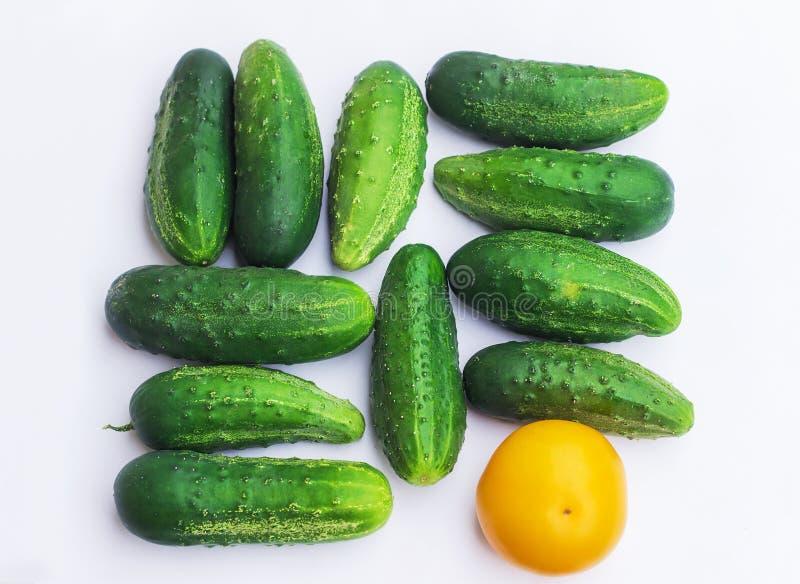 Gruppe von Gurken und von Tomate mit verschiedenen Farben, unterschiedlich stockfotografie