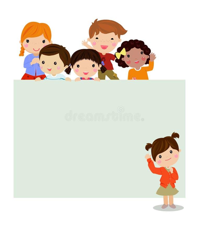 Gruppe von Kindern und von Fahne stock abbildung