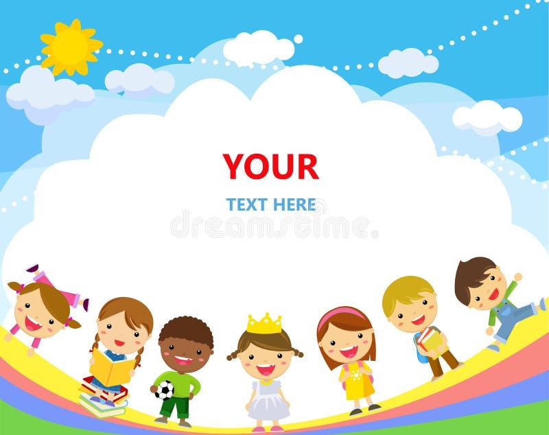 Gruppe von Kindern und von Regenbogen vektor abbildung
