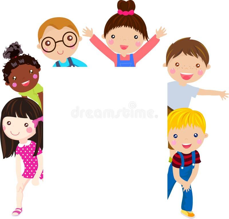 Gruppe von Kindern und von Fahne vektor abbildung