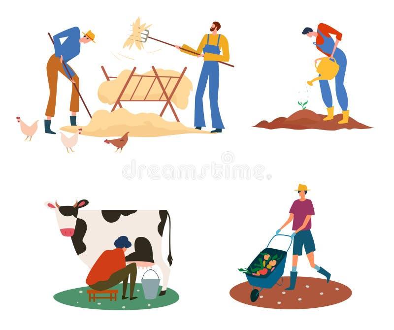 Gruppe von Landwirten oder Landarbeitern im landwirtschaftlichen Betrieb mit Haustieren stock abbildung