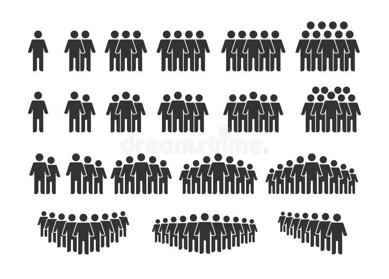 Gruppe von People-Icons Arbeitsgruppenteam Vector-Illustration Isoliert auf weißem Hintergrund stock abbildung