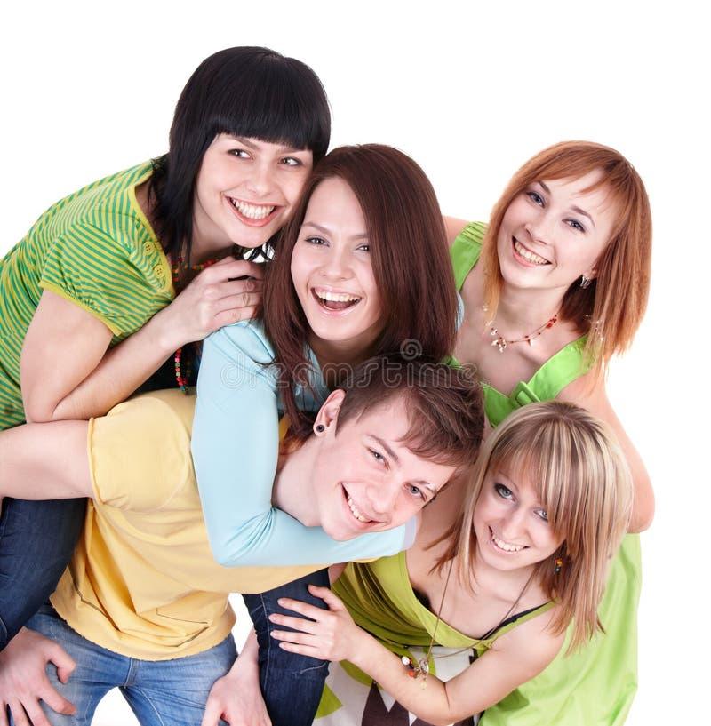 Gruppe von Personen auf Weiß. stockbilder