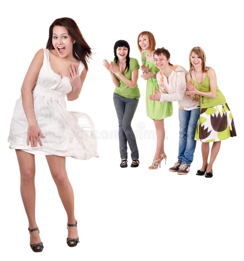 Gruppe von Personen auf Weiß. lizenzfreies stockbild