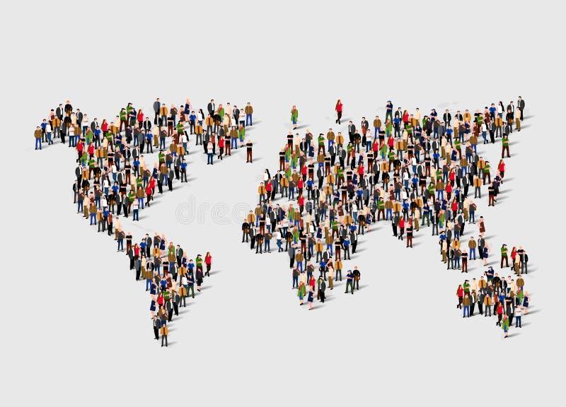 Gruppe von Personen in der Form der Weltkarte Globalisierung, Bevölkerung, Sozialkonzept stock abbildung