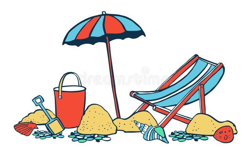 Gruppe von Personen, die auf dem Strand sich entspannt und ein Sonnenbad nimmt Sonnenschirm mit Ruhesessel auf dem Sand Vektorfar lizenzfreie abbildung