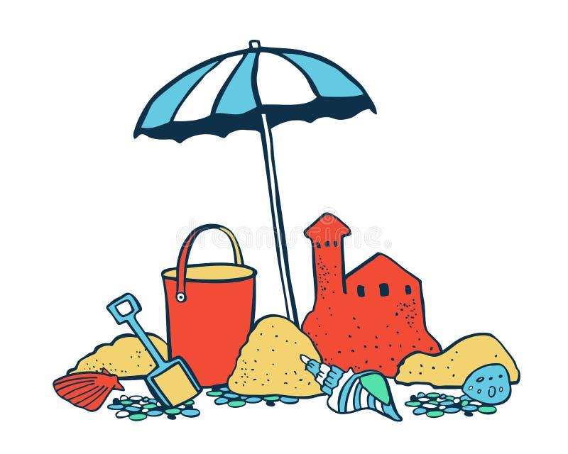 Gruppe von Personen, die auf dem Strand sich entspannt und ein Sonnenbad nimmt Sonnenschirm mit Sandburg und Eimer Vektorfarbkari vektor abbildung