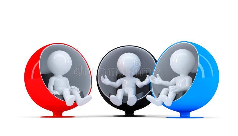 Gruppe von Personen, die auf Stühlen sitzt und Gespräch hat lizenzfreie abbildung