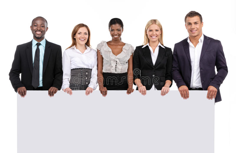 Gruppe von Personen, die Brett hält lizenzfreie stockfotografie