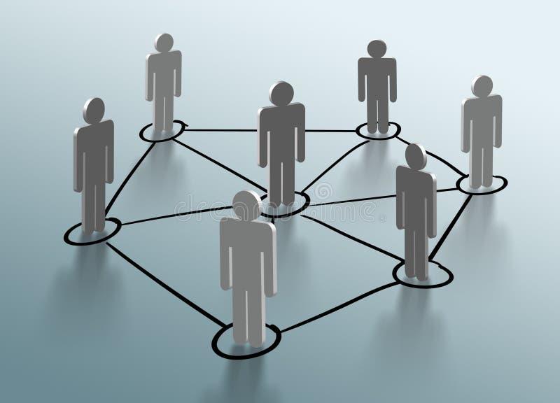 Gruppe von Personen, die im Sozialen Netz spricht stock abbildung