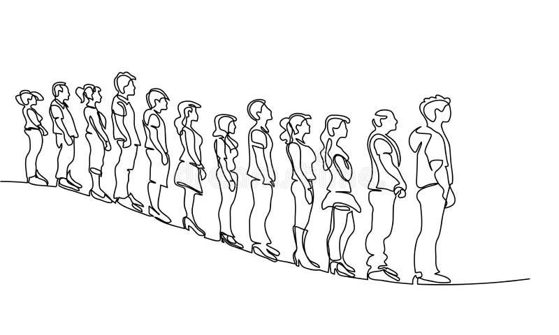 Gruppe von Personen, die in Linie Schattenbild wartet lizenzfreie abbildung