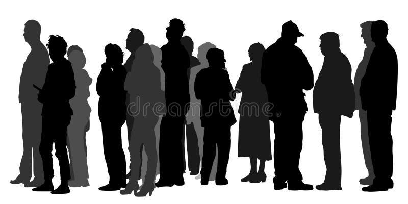Gruppe von Personen, die in Linie Schattenbild wartet Menge vor Markt oder ATM-Maschine stock abbildung