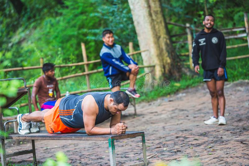 Gruppe von Personen, die Morgenübung im Wald tut stockbild
