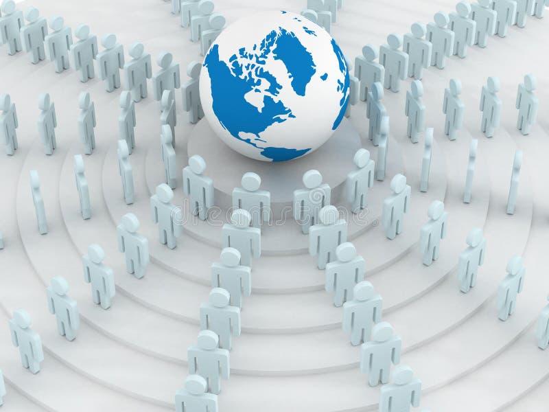 Gruppe von Personen, die runde Kugel steht. lizenzfreie abbildung