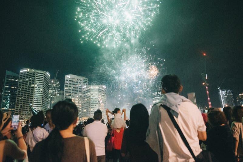 Gruppe von Personen, die schöne grüne Feuerwerke an einem Festival in einem Park genießt lizenzfreies stockfoto