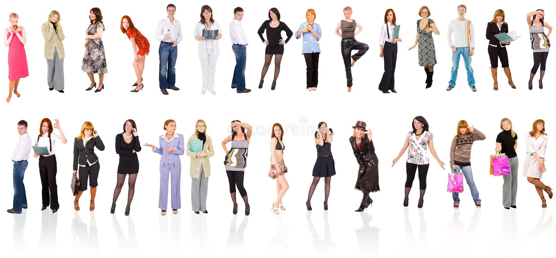 Gruppe von Personen getrennt über Weiß stockbilder