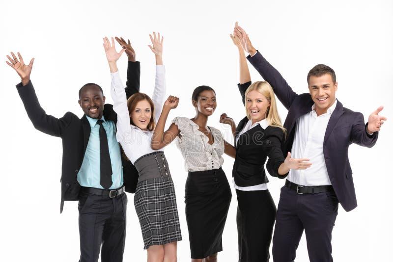 Gruppe von Personen. Hände oben lizenzfreies stockfoto