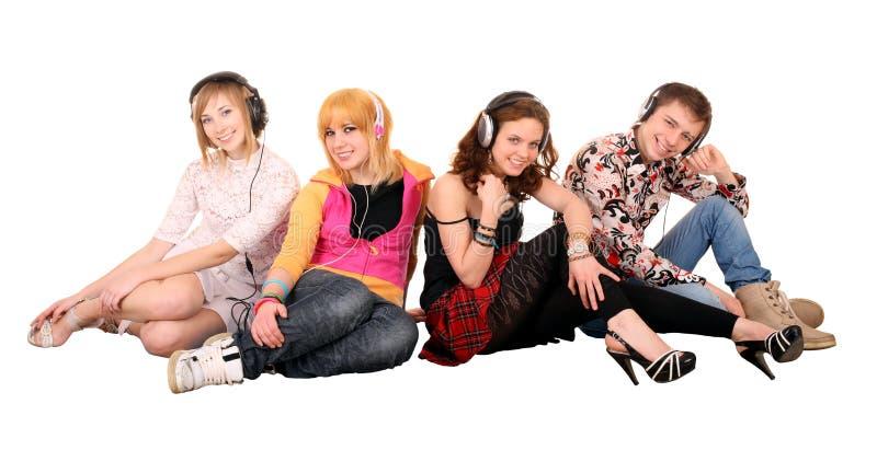 Gruppe von Personen im Kopfhörer. lizenzfreies stockbild