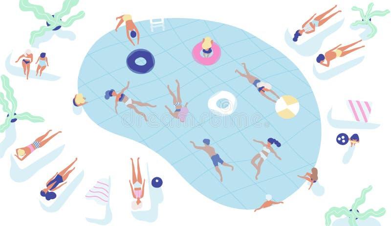 Gruppe von Personen kleidete in der Badebekleidungsschwimmen im Pool oder in sich hinlegen auf sunloungers und im Ein Sonnenbad n stock abbildung