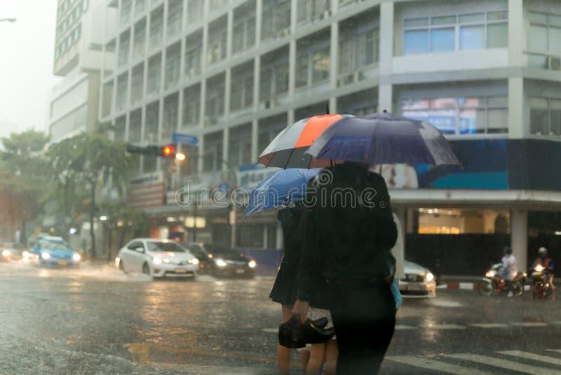 Gruppe von Personen mit dem Regenschirm, der die Straße im Regen kreuzt stockbild