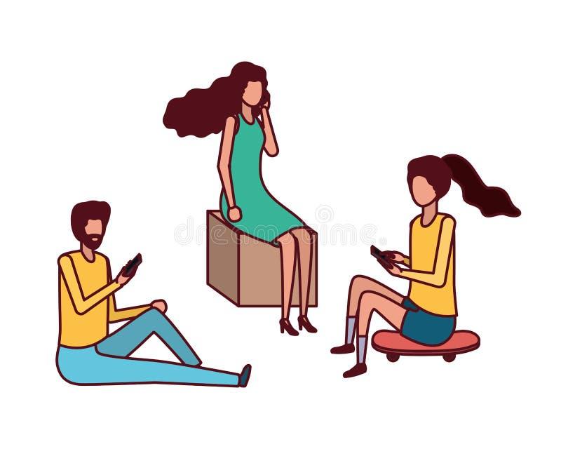 Gruppe von Personen mit Smartphoneavataracharakter lizenzfreie abbildung