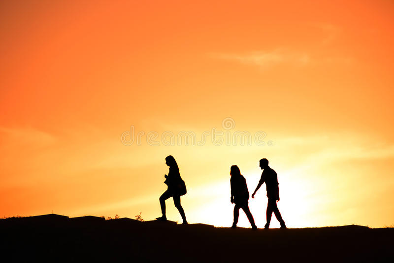 Gruppe von Personen, Schattenbild stockbild