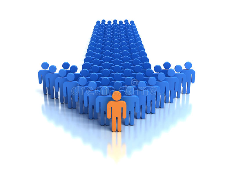 Gruppe von Personen und Führer lizenzfreie abbildung