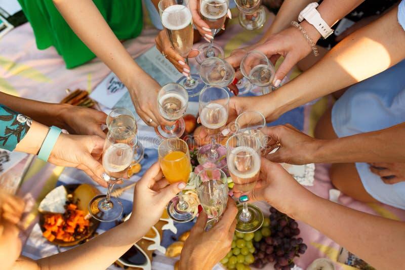 Gruppe von Personen, welche Picknickmahlzeitzusammengehörigkeit die im Freien speist hat, Gläser röstend Sommerwochenenden lizenzfreies stockbild
