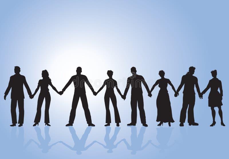 Gruppe von Personenen-Händchenhalten vektor abbildung