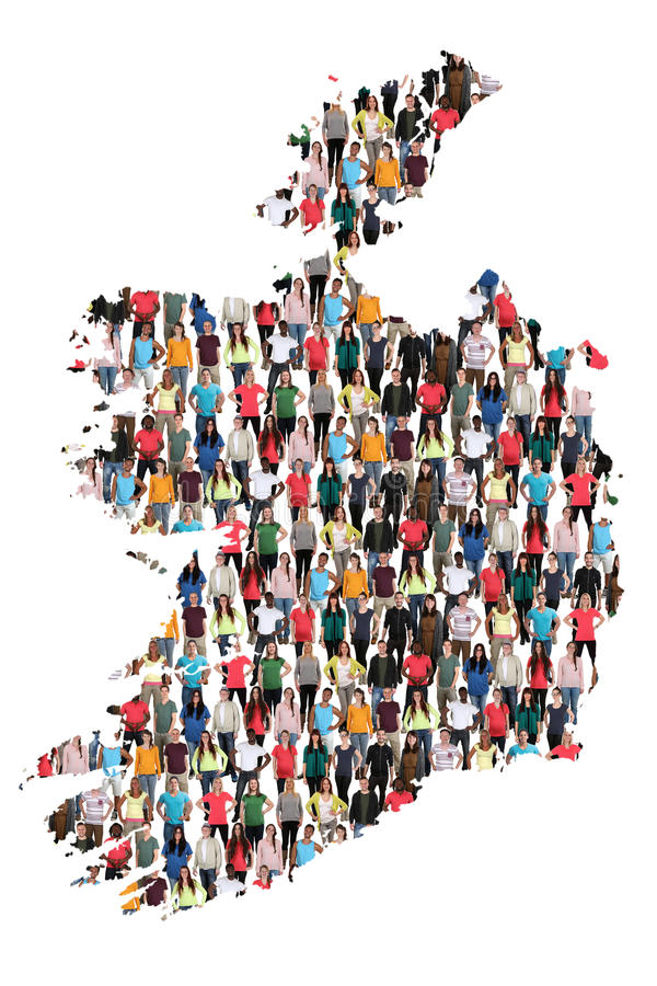 Gruppe von Personenen-Integration immigratio Irland-Karte multikulturelles stockfotografie