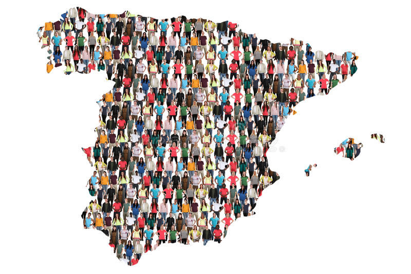Gruppe von Personenen-Integrationsimmigration Spanien-Karte multikulturelle stockbild
