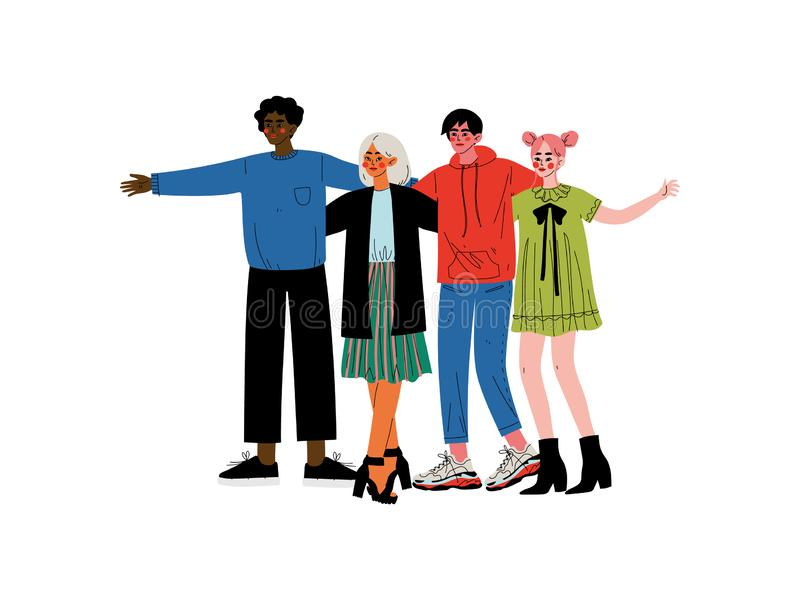 Gruppe von Personenen-Umarmen, junge Männer und Frauen, die zusammen stehen, feiernd Ereignis-Vektor-Illustration lizenzfreie abbildung