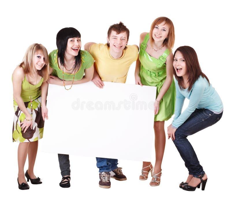 Gruppe von Personenennehmenfahne. lizenzfreies stockfoto