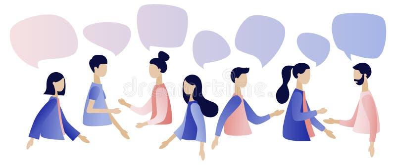 Gruppe von Personenenunterhaltung Gesch?ftsm?nner besprechen Soziales Netz, Nachrichten, soziale Netzwerke, Schw?tzchen, Dialogsp vektor abbildung