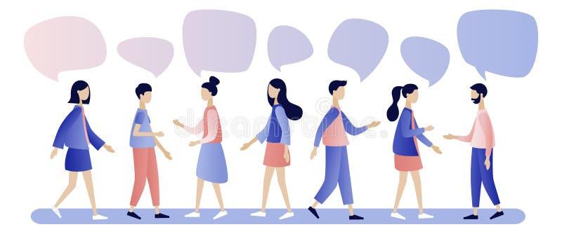 Gruppe von Personenenunterhaltung Gesch?ftsm?nner besprechen Soziales Netz, Nachrichten, soziale Netzwerke, Schw?tzchen, Dialogsp stock abbildung